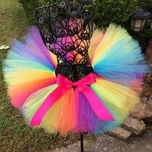 Радужная юбка-пачка для малышей фатиновые юбки ручной работы для девочек балетная юбка-американка с розовым бантом из ленты, детский праздничный костюм, юбка