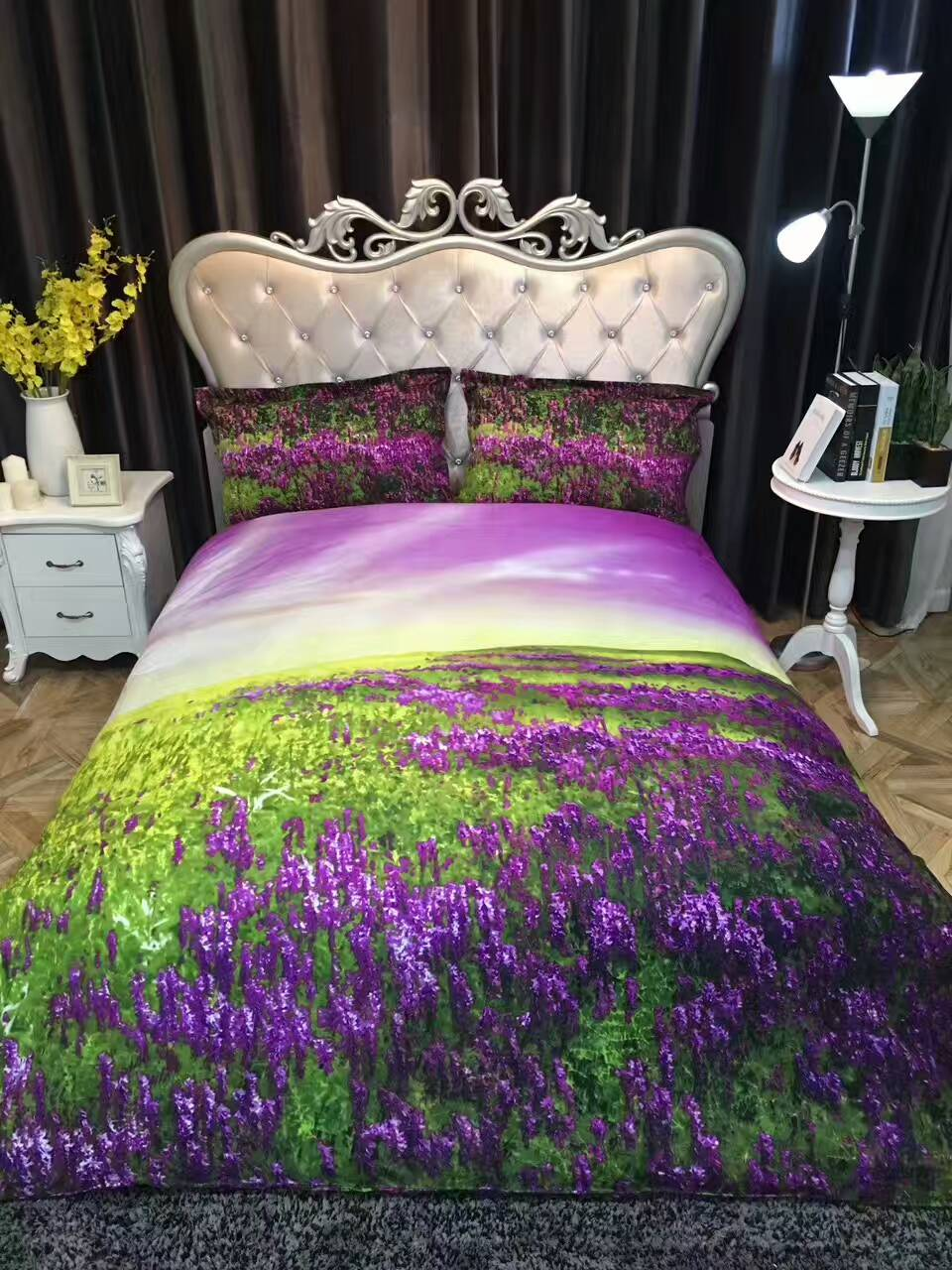 Floral cotton bed sheets - Fashion Cotton Pastoral Style Bedding Set Lavender Printed Bed Linen Printed Floral Bedclothes Duvet Cover Bed