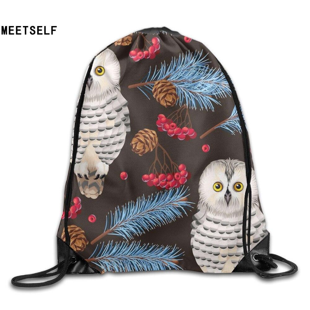 Samcustom 3d Print Owl Birds Shoulders Bag Women Fabric Backpack Girls Beam Port Drawstring Travel Shoes Dust Storage Bags