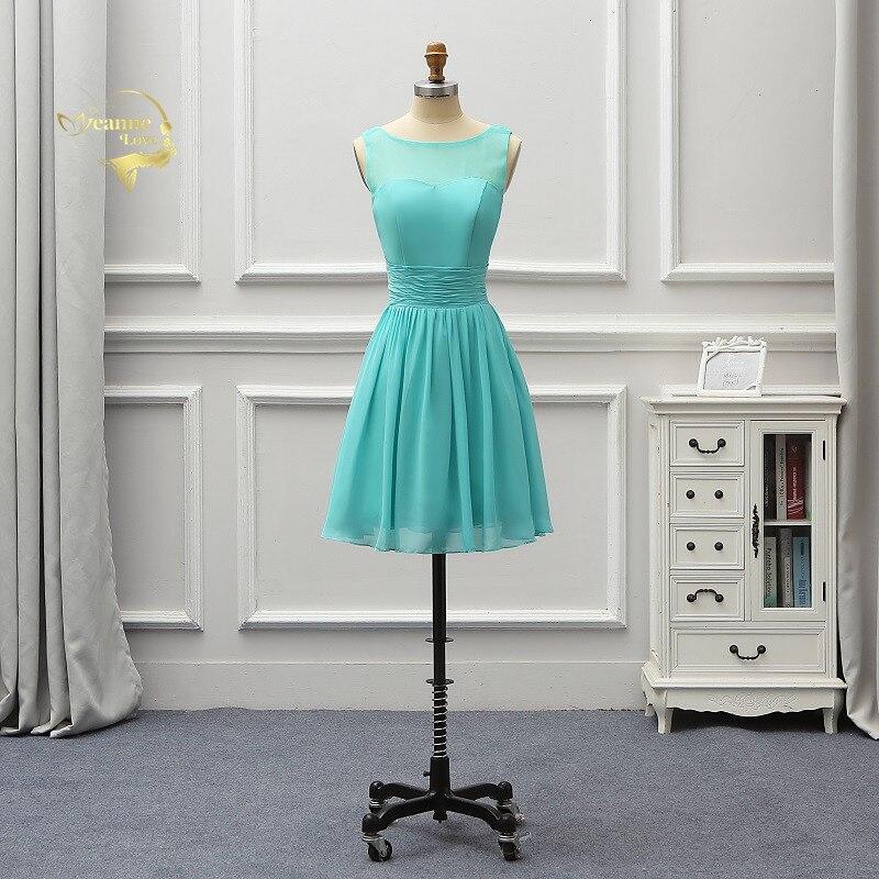 Cheap Short Bridesmaid Dresses A Line Knee Length Chiffon Homecoming Dresses Vestido De Formatura Wedding Guest Dress BR06U