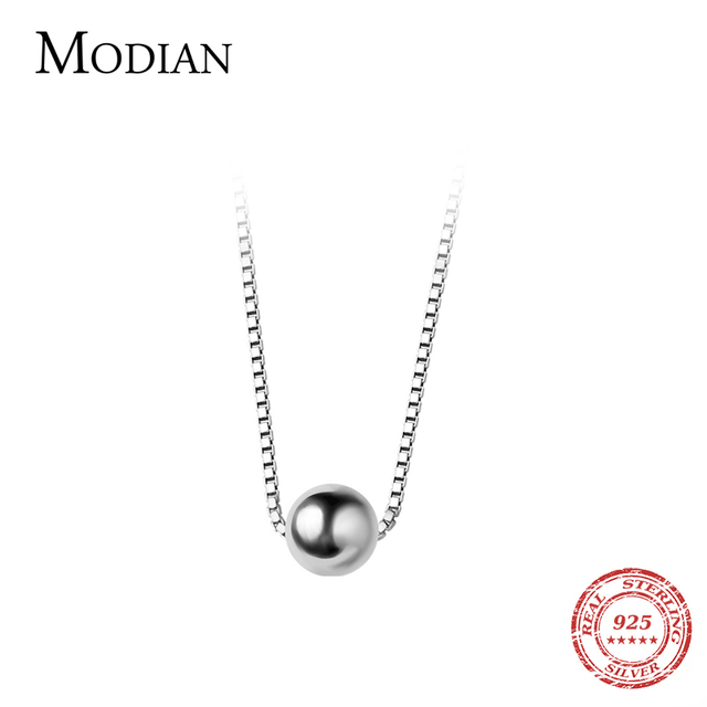Modian Trendy Tiny Simple Bead Necklace Pendant New Sale 100% 925 Sterling Silver Round Jewelry For Women & Girls Party Gift 5