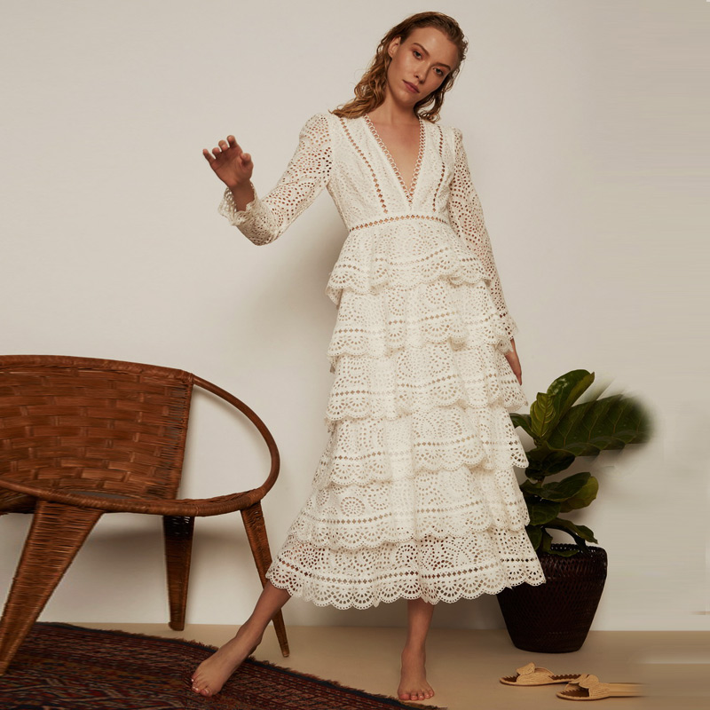 White Lace Patchwork Hollow Out Long Sleeve Layered Tiered Long Dress Bopstyle 2018 Women Ladies Fashion