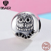 BISAER Hot Sale Authentic 925 Sterling Silver Vivid Owl Charm Beads Fit Original PAN Charm Bracelet
