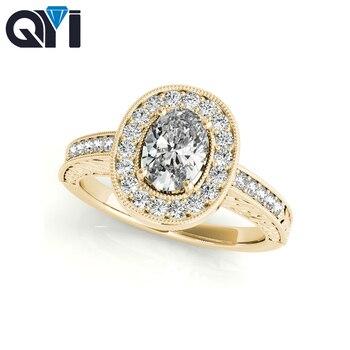 f4761a49d9bd QYI oro amarillo de 10 k Ring1 quilates Oval corte diamante simulado los  anillos de boda para las mujeres