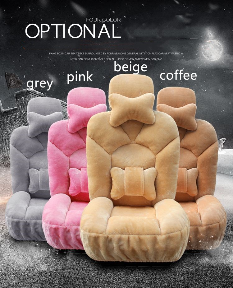 Car Seat Covers Winter Chair Warm Automobiles Seats Cover Auto Styling For Women Fur Accessories With Lumber