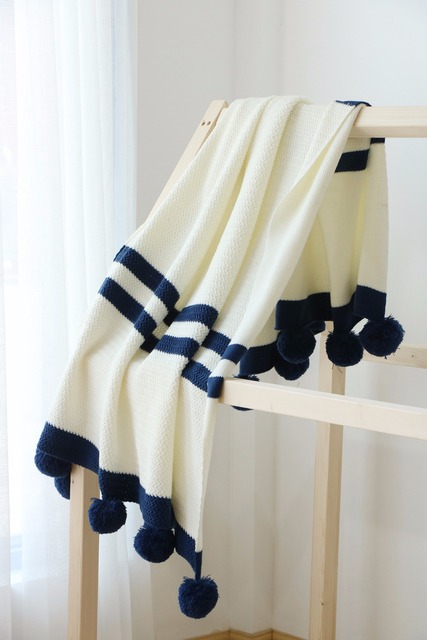Free Shipping Bedspread Knitted Chevrons Zigzags Stripes Pattern