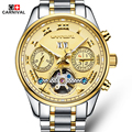 Design clássico carnival relógio de negócio dos homens top marca de luxo completa aço tourbillon relógios mecânicos à prova d' água relógio luminoso