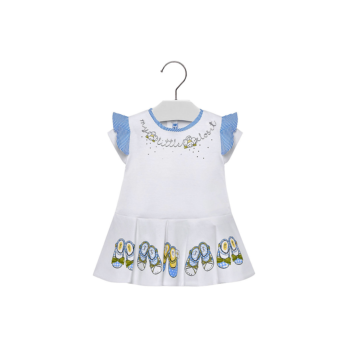 MAYORAL Dresses 10681475 Girl Children fitted pleated skirt White Cotton Casual Print Knee-Length Short Sleeve