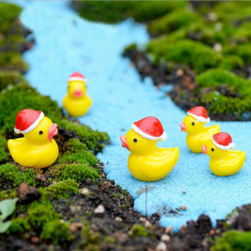 christmas duck miniature dolls house garden bonsai decoration mini dollhouse toy craft ornaments micro decor diy gift in figurines miniatures from home - Christmas Duck