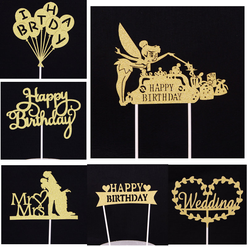 1pcs Creative Cake Topper Happy Birthday Flags Princess Gold Silver For Family Birthday Party Cake Baking Decoration Supplies