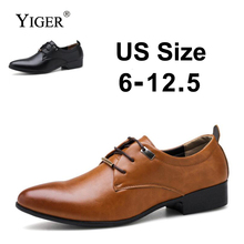 YIGER New Man Dress shoes Large Size Business Leather Men Brown/Black Wedding Shoes Lace-up  0092