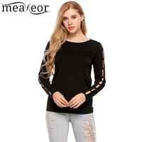 Meaneor Solid Basic T Shirt Women Long Cut Off Sleeve Hip Length Slim Casual Tops 2017