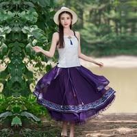 Kyqiao méxico estilo vintage larga púrpura una línea de expansión patchwork midi falda mujeres otoño primavera festival de la tribu étnico faldas