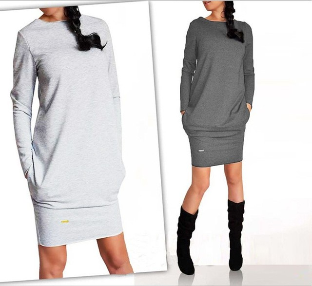 Women Dress New Casual Clothing Work Wear Office Party Dresses Long Sleeve Plus Size Ladies Clothing