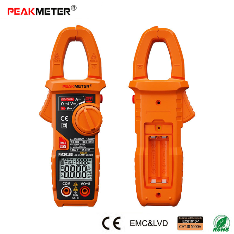 PEAKMETER PM2018S Smart AC Digital Clamp Meter Portable Multimeter AC Current Voltage Resistance Continuity Measurement Tester