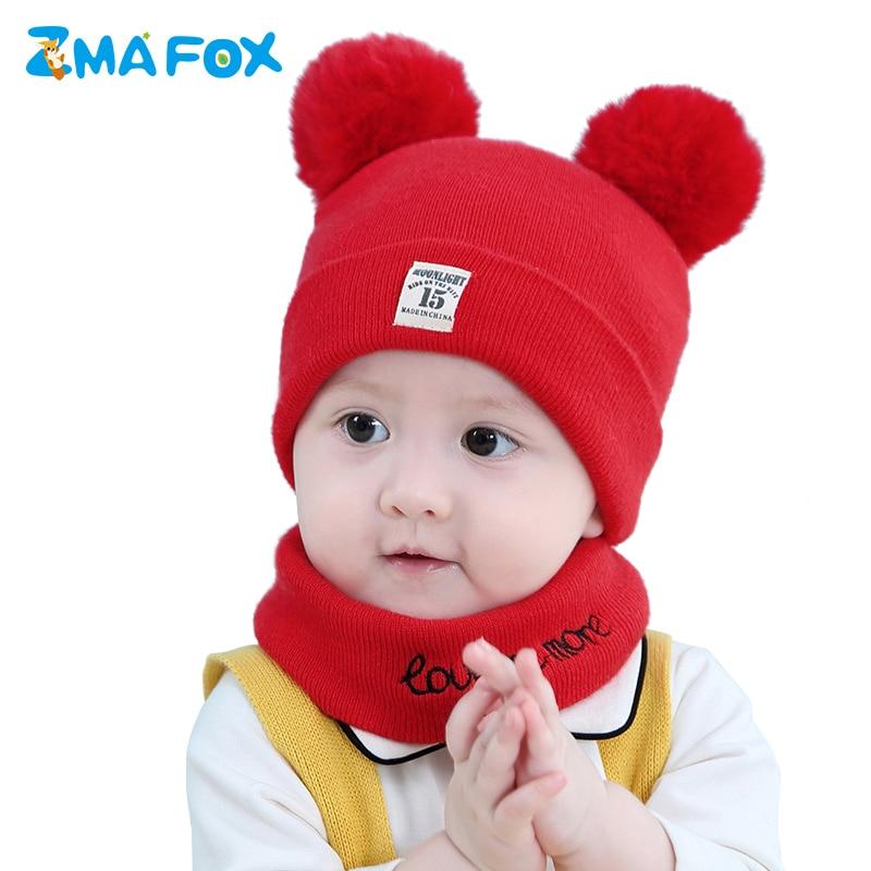 ZMAFOX newborn baby boys girls winter warm beanie hats with pom poms 0-12 M toddlers kids caps scarf suits children neck warmer