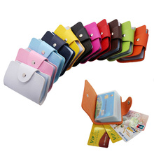 Business Card Holder Men Fashion PU Leather Function 24 Bits Card Case Women Credit Passport Card Bag ID Passport Card Wallet(China)