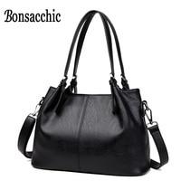 Bonsacchic Ladies Genuine Leather Bag Handbag Women Famous Brand Black Leather Tote Bags for Women Hand Bag Big Bolsas femininas