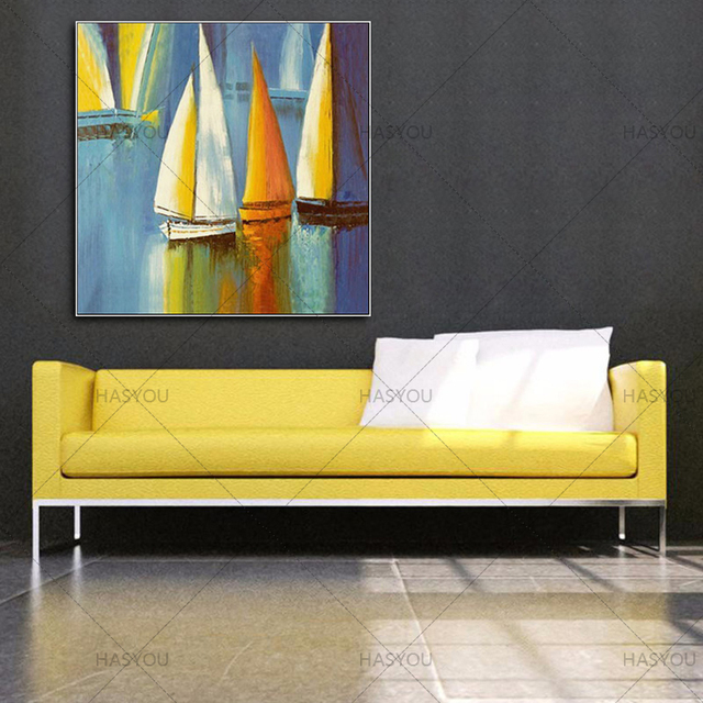 Hand Painted Colorful Sail Boats Frameless Oil Painting Modern ...