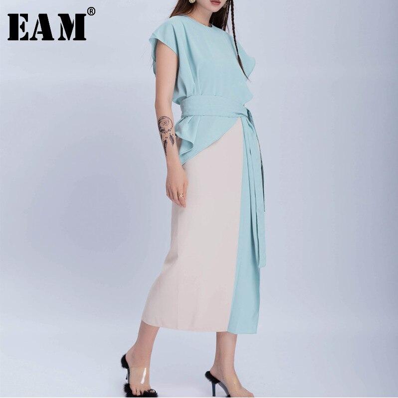 [EAM] 2020 New Spring Summer Round Neck Short Sleeve Hit Color Blue Ruffles Bandage Temperament Dress Women Fashion Tide JS219