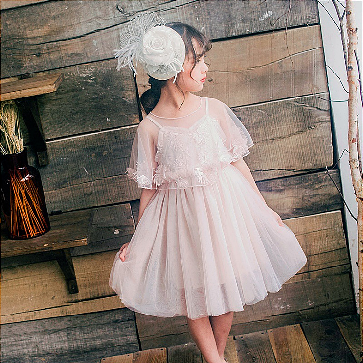 5302 Feather Cape Princess Party Baby Girls Dress Tutu Wedding Summer Kids Dresses For Girls Wholesale Baby Girl Clothes 5P Lot baby girl kids peacock feather dress
