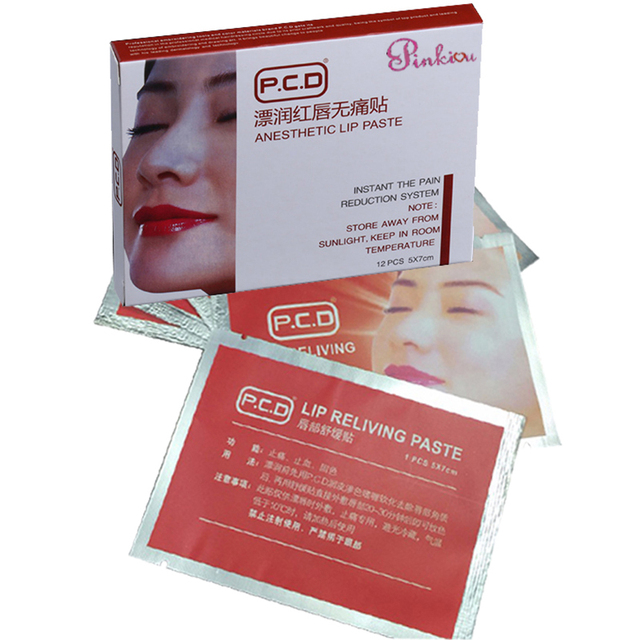 12pcs/1box PCD Permanent Makeup Accessories Anesthetic Lip Paste For Lip Tattoo Medical Tool