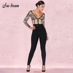 2017 Autumn new women jumpsuits long sleeves v neck bandage jumpsuit sexy print lace celebrity party black jumpsuits vestidos