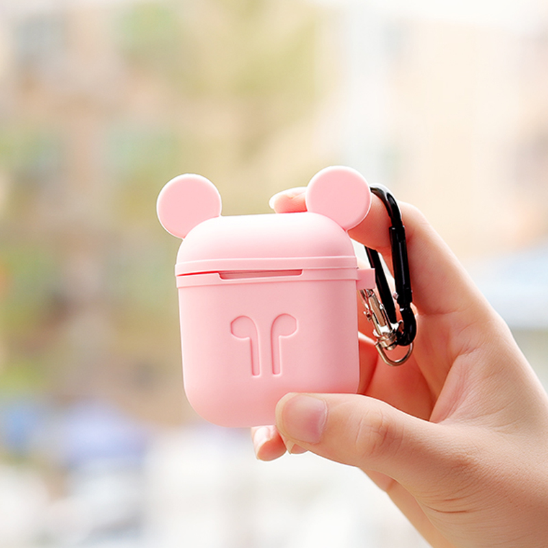 Silicone Case For Apple Airpods Accessories Protective Cover Cute Bag wireless bluetooth Cover Mickey DIY Case with Rope hook up цена