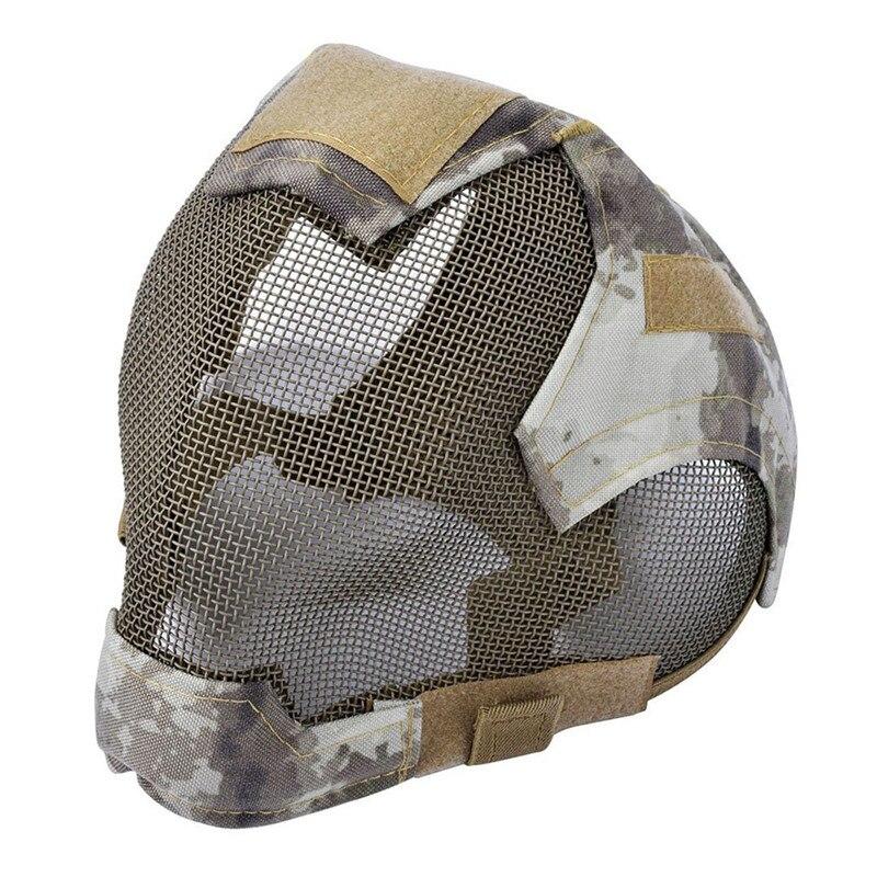 Spor ve Eğlence'ten Bisiklet Yüz Maskesi'de Açık Airsoft maskesi koruyucu tam yüz eskrim çelik ızgara maskesi title=