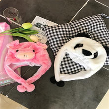 Cartoon animal cute plush powder piglet hat photo props cosplay plush toy hat Christmas Halloween birthday party dress up(China)