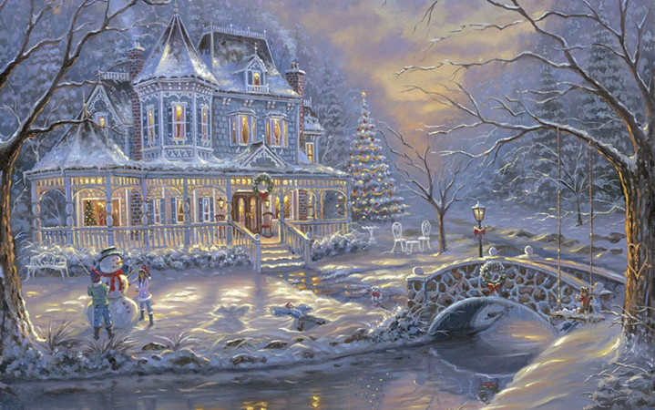 free shipping Christmas snowman light house scenery canvas prints oil painting printed on canvas wall art decoration picture