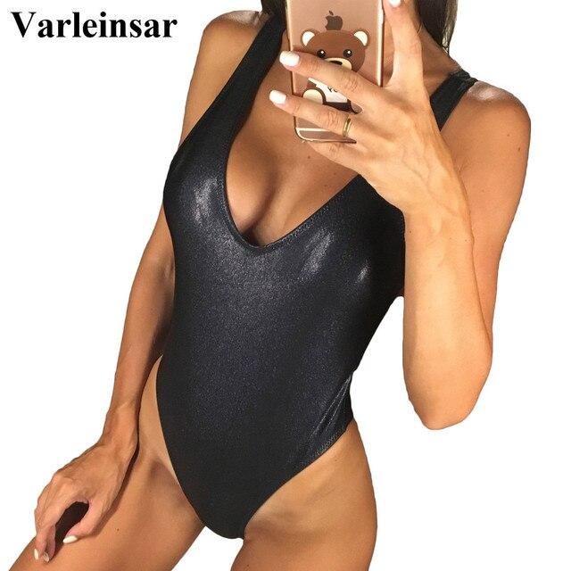 Màu đen Cổ Chữ V Bather 2019 một mảnh áo tắm Backless bơi phù hợp với phụ nữ Đồ Bơi Tắm phù hợp với phụ nữ Bodysuit Monokini V653