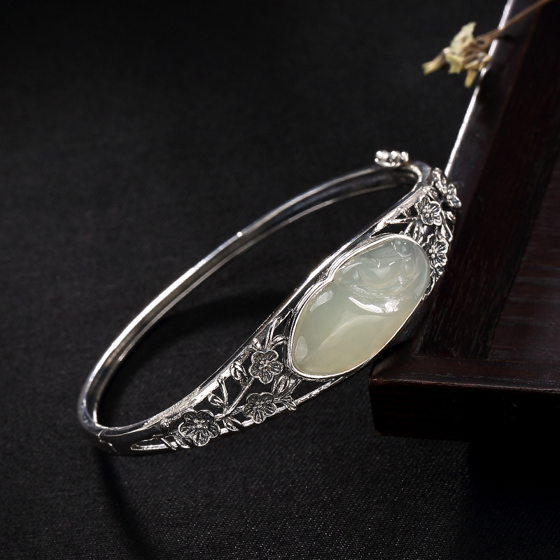 Vintage Plum Bangles For Women 925 Stelring Silver Jade Inlaid Natural Gemstone Openable Zilverkleurige Armband Voor Vrouwen-in Bracelets & Bangles from Jewelry & Accessories    1