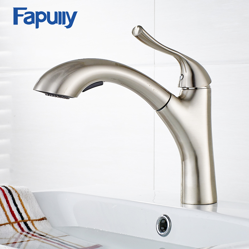 Fapully Pull Out Kitchen Sink Faucet Chrome Pull Down Water Mixer Sink Tap Hot Cold Kitchen Faucet Torneira