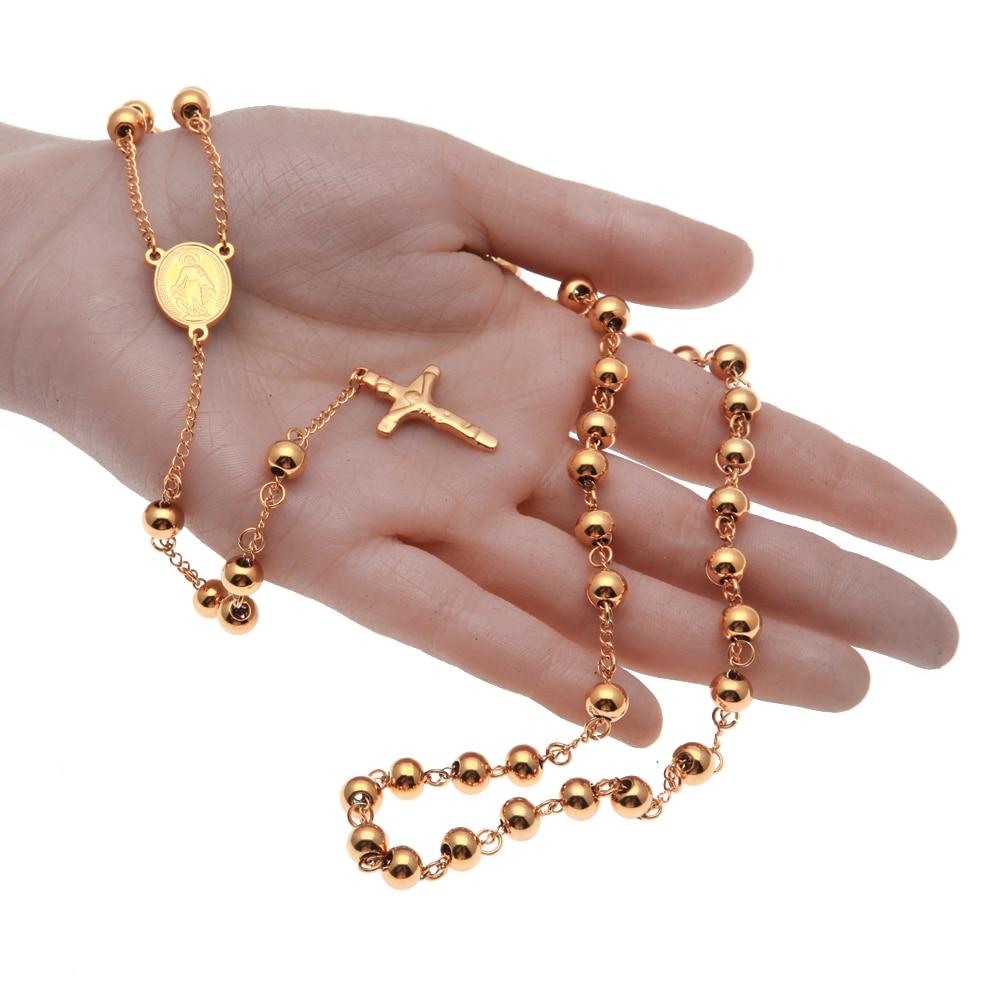 Emas Disepuh Beckham Rosary Palang Kalung Rantai Manik Palang Pendant - Perhiasan fashion - Foto 2