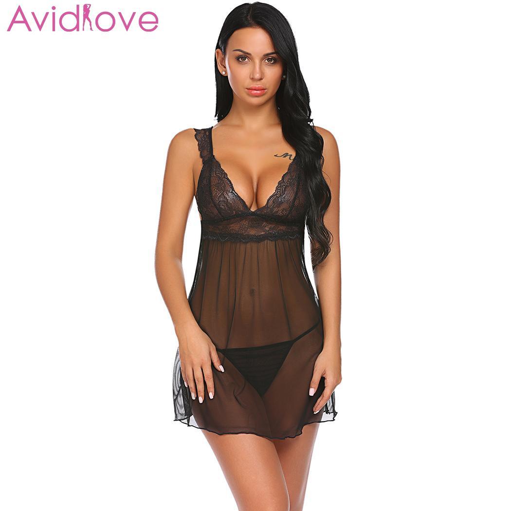 Buy Avidlove Mesh Lace Women Sexy Lingerie Sleepwear Babydoll Erotic lenceria Lingerie Sheer Patchwork Babydoll Set G-string