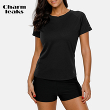 Charmleaks Women Short Sleeve Rashguard Shirts Solid Color Quick-drying Top UV-Protection Rash Guard UPF 50+ Running