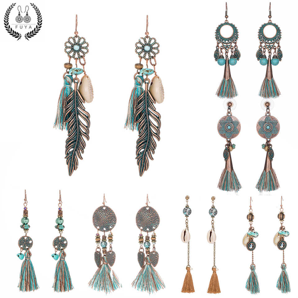 2019 New statement jewelry tassel long earrings for women wedding dangle drop earrings Ethnic vintage boho earring wholesale