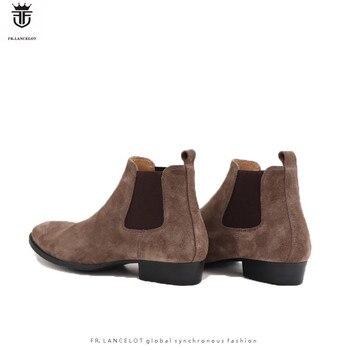FR. LANCELOT, marca de lujo, botas bajas de ante auténtico para hombre, botines de tacón bajo Chelsea, botines elásticos para hombre