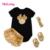 2017 Do Bebê Roupas de Menina 4 pcs Conjuntos de Roupas Macacão de Algodão Preto Dourado Irritar Bloomers Calções Sapatos Headband Recém-nascidos Roupas