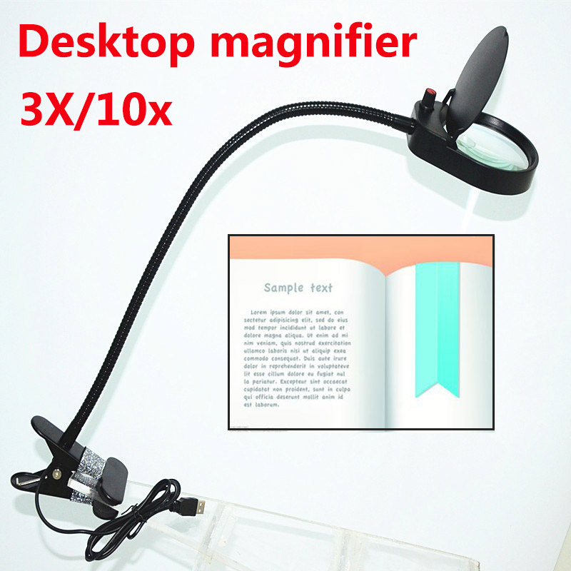 Dimmable LED light magnifying glass 3X/10x soft rod Desktop magnifier Use for reading engraving Repair & jewelry appraisal new universal desktop magnifier usb with led light 10x for maintenance reading micro engraving magnifying glass