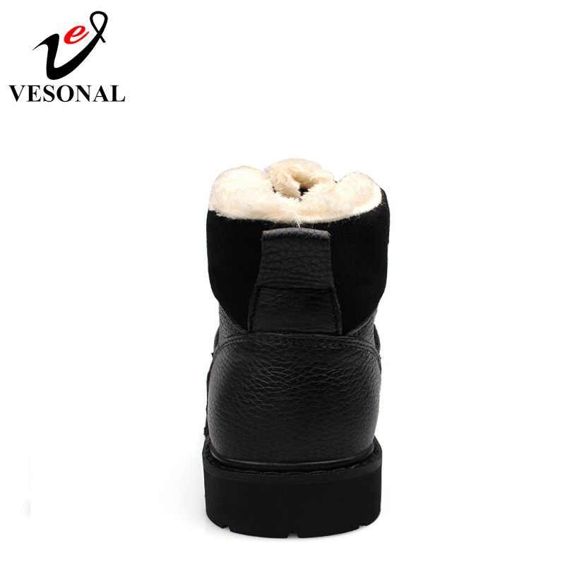 VESONAL/зимние меховые Нескользящие зимние ботинки мужская обувь повседневные брендовые Качественные теплые ботильоны из натуральной кожи на резиновой подошве мужские большие размеры 38-48
