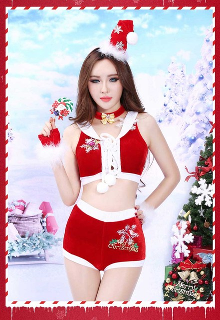 4b319ff6fee Adult Christmas Costume For Women Naughty Santa Mini Dress Lady Sexy Miss  Claus Christmas Costume Red