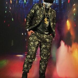Мужской хип-хоп DJDS, костюм для парикмахера в китайском стиле с вышивкой Золотого Дракона, бейсбольный клуб GOGO bar, сценический костюм.