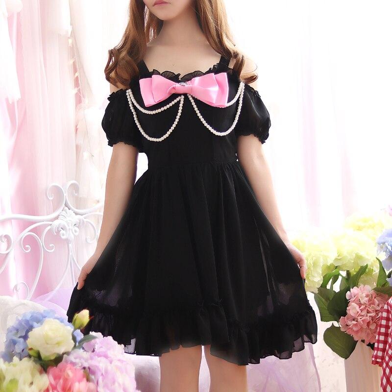 d2e2d0d0a Pearl Beading Off shoulder Cute Bowknot Straps Women Summer Sweet Mini  Dresses Lolita Girl Japan Princess Kawaii Chiffon dress-in Dresses from  Women's .