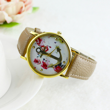 Women's Faux Leather Floral Printed Anchor Quartz Dress Wrist Watch 04FL 22ZE
