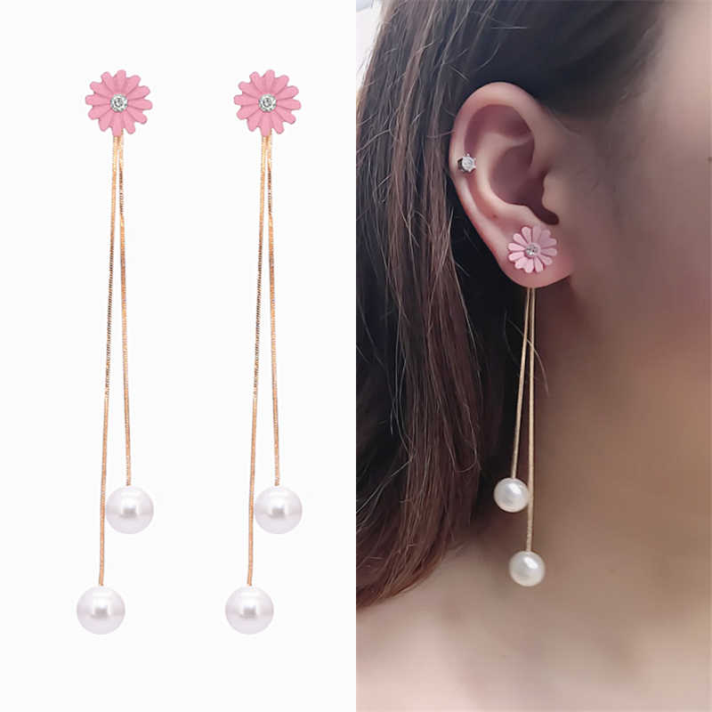 Hot Fashion Long Statement Pink Chrysanthemum Crystal Gold Tassel Simulated Pearl Rear Hanging Drop Earrings for Women Brincos