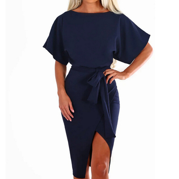 Hot 2019 Summer Dress Work Office Short Sleeve O-Neck Elegant Ladies Bodycon Bandage Belt Slim Party Dress Vestidos Plus Size 1