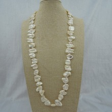 100% naturaleza FRESH-WATER largo collar de perlas barroco forma
