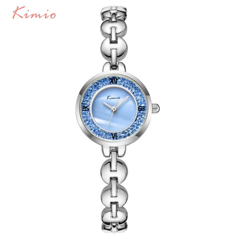 Prix pour KIMIO Unique Bracelet Bracelet Briller En Verre Décoré Cadran Balance Romaine Femme Montres 2017 Marque De Luxe Femmes Montre À Quartz-montre vente